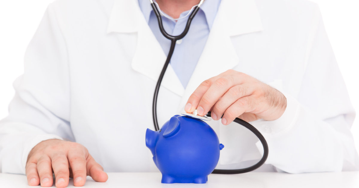 Doctor listening to a piggy bank with a stethoscope - social security questions