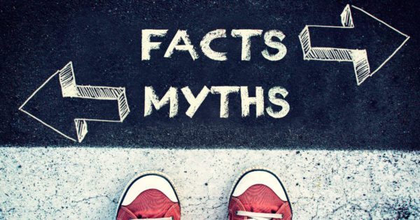 Sidewalk with Facts (left) and annuities (right) person deciding which way to go - Annuities - Myth vs Fact presented by Meld University