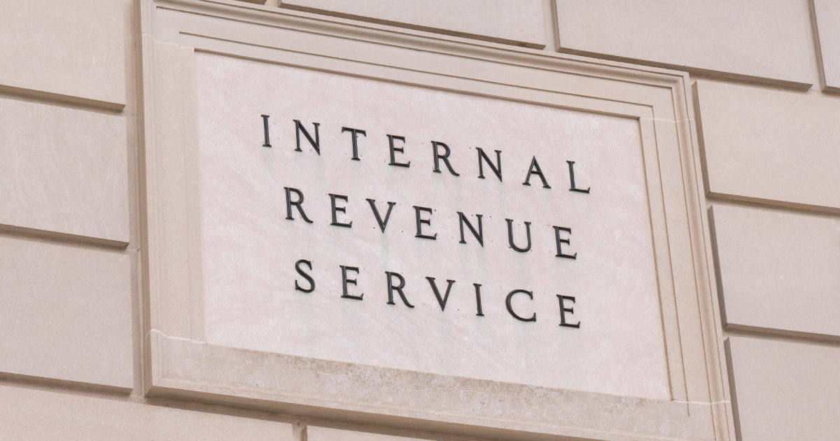 "Sign from IRS Building that reads ""Internal Revenue Service"""