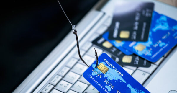 A fishing line that has hooked a credit card with a pile of other credit cards lying on a keyboard. This is meant to indicate phishing.