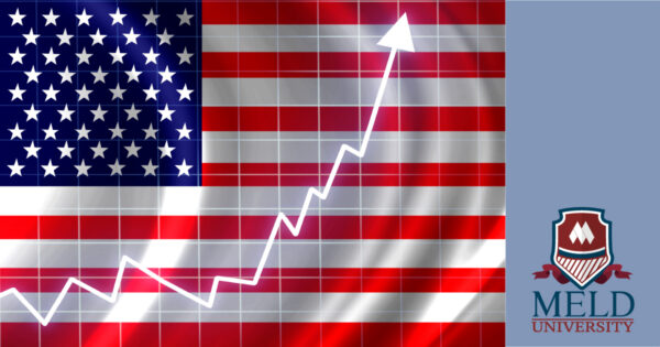 american flag with a stock chart - meant to indicate election impact on markets - meld university logo