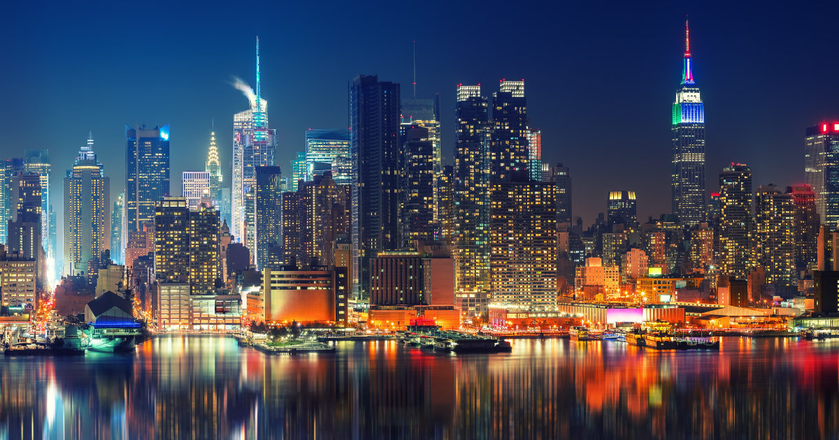 New York City skyline at night - how the west and the rest got rich