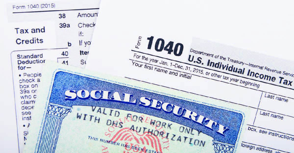social security card and 1040 form