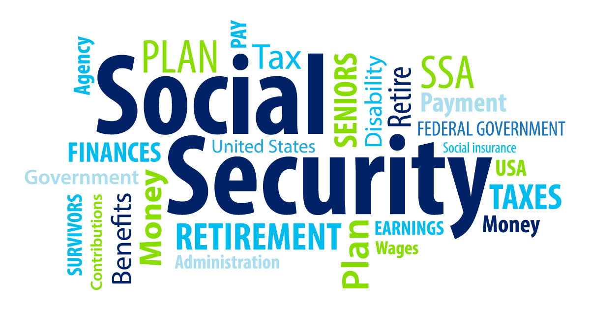 Social security medicare retirement text art word jumble
