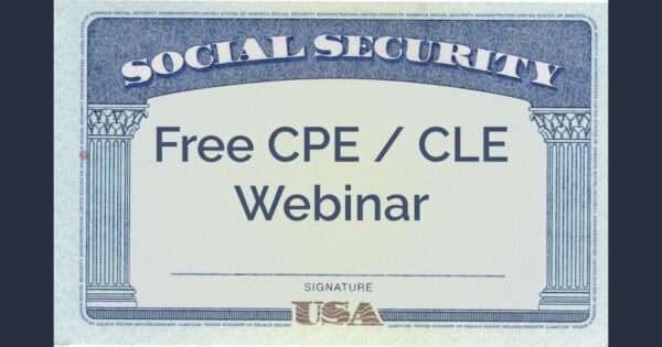 """A social security card with the words """"Free CPE / CLE Webinar"""" in place of the name"""